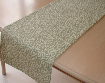 "6ft Leaf Table Runner 180cm 72"" Green and Cream Willow Leaves Willowbough Tree"
