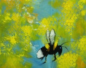 Bee painting 346 12x12 inch insect animal portrait original oil painting by Roz