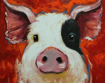 Pig painting 237 12x12 inch original oil painting by Roz