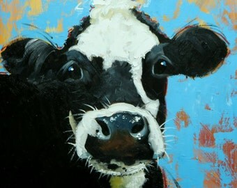 Cow painting 1145 20x20 inch animal original oil painting by Roz