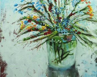 Floral painting 249 24x24 inch original still life oil painting by Roz