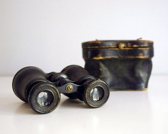 French Opera Glasses, Lemair Fabt Paris, 1920s Horse Racing Glasses, Black Leather Case, Steampunk Optics, Man Cave Industrial Decor