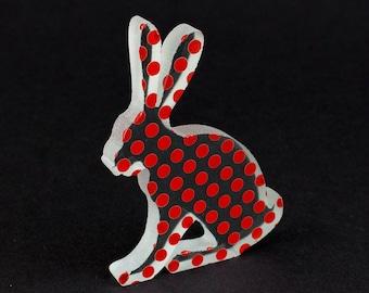 Polkadot Hare Glass Sculpture Screen Printed Enamel Custom Colours