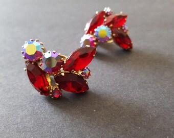 Weiss Red Rhinestone Clip Earrings -Vintage Gold Ruby Bridal Jewelry Runway Diamante 1960's 60's Crystals Aurora Borealis AB Crimson