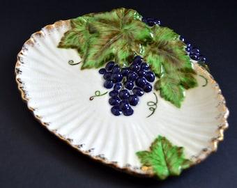 Vintage Ceramic Grape Platter {Painted Pottery Tray Set Embossed Dish Blue Grapes Green Leaf Leaves Decorative Gold Rim Tuscan Farmhouse}