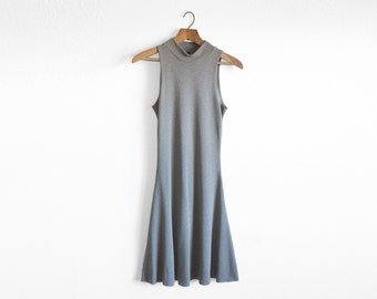 Grey Aline Dress, Mock Turtleneck, 90s clothing, Sleeveless Dress, Boho Dress, Minimalist Clothing, Fit and Flare Dress, Norwegian Wood