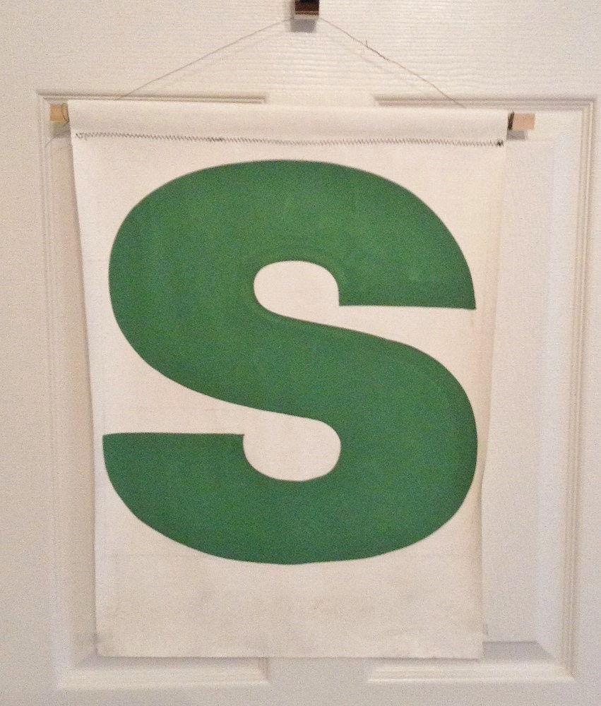 Vintage letter s canvas banner letter s 1960s hand painted for Letter canvas