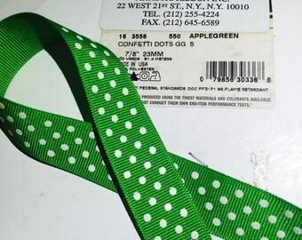 10 Yards of Green Grosgrain White Polka Dot Ribbon