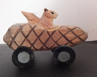 Vintage Hand Carved Wood Carving Squirrel in Acorn Car