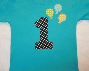 Boys First Birthday Number 1 Shirt - Size 18 month short sleeve aqua shirt with number 2 and balloons in aqua lime yellow polkadots