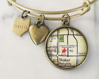 John Carroll University Map Charm Bracelet - Personalized Map Jewelry - Cleveland Ohio - Graduation Gift - Student - Alumni
