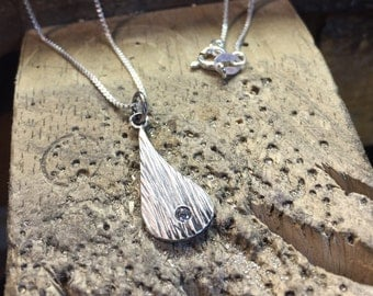 Rain Teardrop Pendant in Sterling Silver with Burnish set CZ by Cristina Hurley