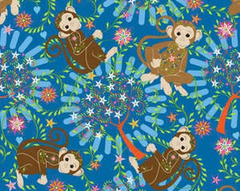 Laminated Cotton Mystic Forest - Monkey Trees in Teal 338-26001 - BPA and PVC Free - 1 Yard