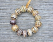 Reserved for Mary - Ivory Plum stripes - Lampwork beads by Loupiac