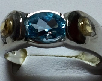 Aquamarine sapphire band size 7.5