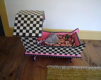 Mod Doll Cradle and Quilt