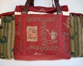 Deluxe Knitting/Crochet Tote Bag/Project Bag/Two Pocket Yarn Organizer/Handmade Knitting Bag-EMMAS SECRET GARDEN