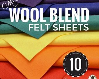 10 or 20 Merino Wool Felt Sheets, Wool Felt Bundle, Wool Blend Felt, Wool Felt Fabric, Wool Felt Sheets, Craft Felt Sheets, Merino Wool Felt