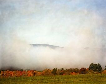 Mist Landscape Photography,  Nature Photography, Autumn Photography. Rustic Decor, Fine Art Print,