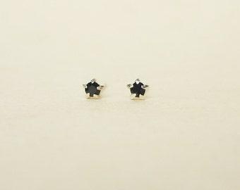 3 mm Teeny Tiny Black Jet Crystal 925 Sterling Silver 5 Prongs Star Stud Earrings,Bridesmaid Gift,Hypoallergenic Earrings,Cartilage Earrings