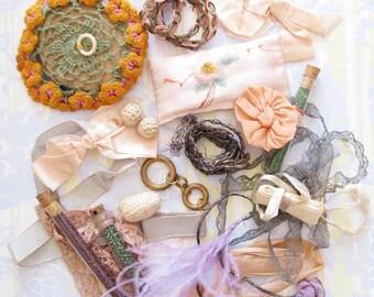 Faded Luxury...Splendid Vintage Metallic & Fancy Trims + Beads + Lace