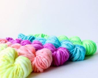 weavers creative yarn bundle, hand spun, hand dyed yarn, handspun art yarn .. juicy fruit 2