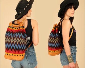 ViNtAgE Tribal KILIM Backpack // Colorful Handwoven Brown Leather // Artisan Handbag Weekender Festival Bag Hiker Traveller gift