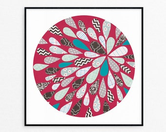 Circle Print- Wall Art - Red Abstract Print - Yay!