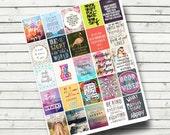Motivational Life Planner Sticker Sheet Printable - Hipster Inspirational Printable Sheet - Journal Stickers - fits Erin Condren Planner