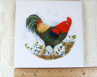 Cup Coaster with Rooster Decor / Ceramic Spoon Rest  with Rooster Decor/ Spoon Holder / Wine Coaster / Tile Coaster / Drink Coaster