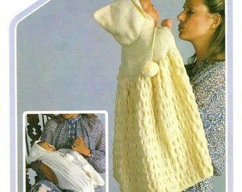 Vintage Baby Carrying Capes, To fit Birth to 6 Months, Knitting Pattern 1970 (PDF) Pattern, Wendy Peter Pan 357