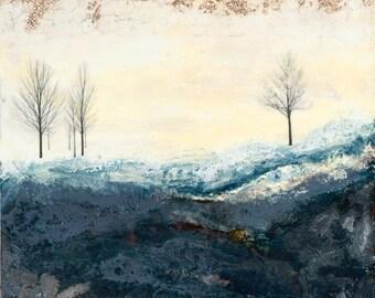 Original encaustic painting- Hills