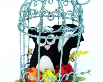 Felt Skunk in Birdcage - Kenneth the Skunk, Home Decoration, Purple and Teal, Home Decor, Ornament