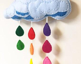 Rainbow Cloud Mobile - Rainbow Sprinkles, Felt Rain Drops, Wall Art, Nursery and Rainbow Decoration, Raindrops, Spring