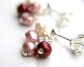 Cluster Stud Earrings . Red Pearl Earrings . Pink Pearl Post Dangle Earrings . Pink Pearl Cluster Earrings Studs - Geranium Collection
