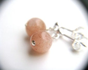 Gemstone Stud Earrings Pink . Sunstone Earrings . Sterling Silver Post Earrings . Natural Gemstone Earrings - Antares A Collection
