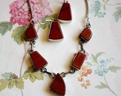 On Sale Vintage Red Jasper 925 Sterling Necklace and Earring Set, Dangle Earrings on Fishhooks, Modernistic Jewelry Red