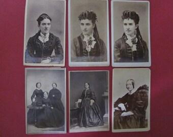 Antique Photographs CDVs Carte de Vistes Victorian and Civil War Era Women