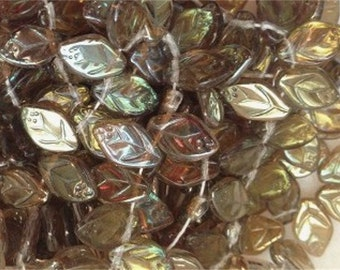 New 25 CZECH GLASS Leaf Beads Mocha Luster AB 8x12mm