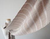 Fawn & Cream White Chevron Stripe Scarf - Extra Long Handwoven Bamboo Fiber Scarf for Men or Women - Very Soft - Silk Free