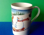 Vintage Dunoon Mug Snowman Kids Sledding Winter Made in Scotland