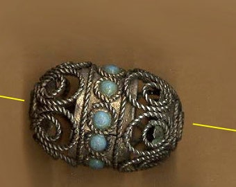 vintage india bead glass and metal bead 1960s GIANT FILIGREE bead turquoise glass one chunky bead retro bead swirly design