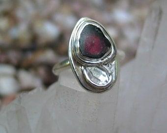 Watermelon Tourmaline Ring, Artisan Jewelry, Tourmaline Crystal Slice, Wirewrap Ring, Sterling Silver