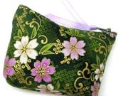 Coin purse, Mini coin purse, Small coin purse, Small zippered coin purse, Zipper coin purse, Wallet,  Robert Kaufman floral