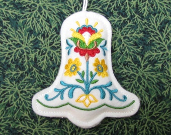 CHRISTMAS ORNAMENT, embroidered ornament, decoration, tree ornament, padded, bell