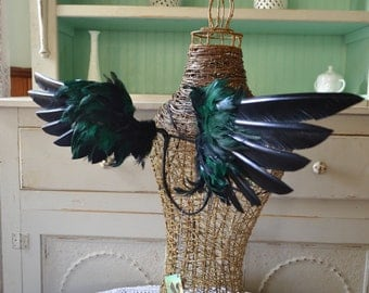 Feather WingsFaerie Costume Cosplay Black and Dark Hunter Green Made to Order