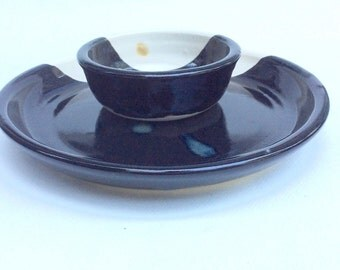 Black and white handmade ceramic serving platter/chip and dip plate and bowl/ pottery plate/ decorative / kitchen and dining/ gift/ S8