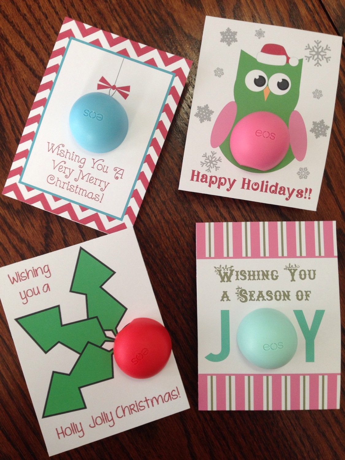 Holiday Christmas cards/gift tags for EOS lip balm