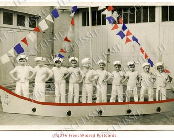 Boat Full of Little Sailors Red White and Blue Flags July Fourth Vintage Real Photo Digital Scan