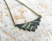 Black necklace Hipster necklace Gift for Her Patina Geometric jewelry
